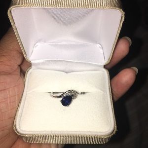 Jewelry - Real 10k diamond,created blue sapphire ring